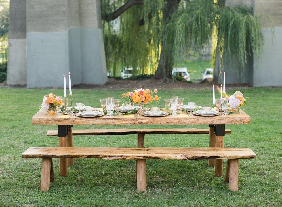 summers event rentals wood farm tables at pemberton farm